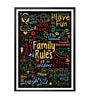 Paper & PU Frame 13 x 1 x 17.5 Inch Our Family Rules Inspiring Words Collage Art Framed Poster by Lab No.4 - The Quotography Department