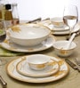 White & Yellow Porcelain 33-Piece Dinner Set by Lakline