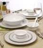 White & Grey Porcelain 33-Piece Dinner Set by Lakline