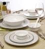 Lakline White and Grey Porcelain 33-piece Dinner Set