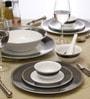 White & Brown Porcelain 33-Piece Dinner Set by Lakline