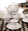 Lakline White and Silver Porcelain 15-piece Tea Set