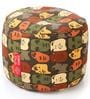Large Cotton Round Ottoman Cover in Abstract Design by Style Homez