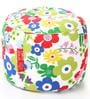 Large Cotton Canvas Floral Design Round Ottoman Cover by Style Homez