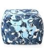 Large Cotton Canvas Floral Design Square Ottoman Cover by Style Homez