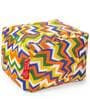 Large Cotton Canvas Geometric Design Ottoman with Beans by Style Homez
