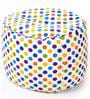 Large Cotton Canvas Round Ottoman Cover in Polka Dots Design by Style Homez