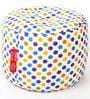 Large Cotton Canvas Polka Dots Design Ottoman with Beans by Style Homez