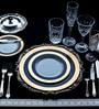 Double Indulgence 47 Pcs Dinner Set - Off White, Blue & Gold by Lazzaro