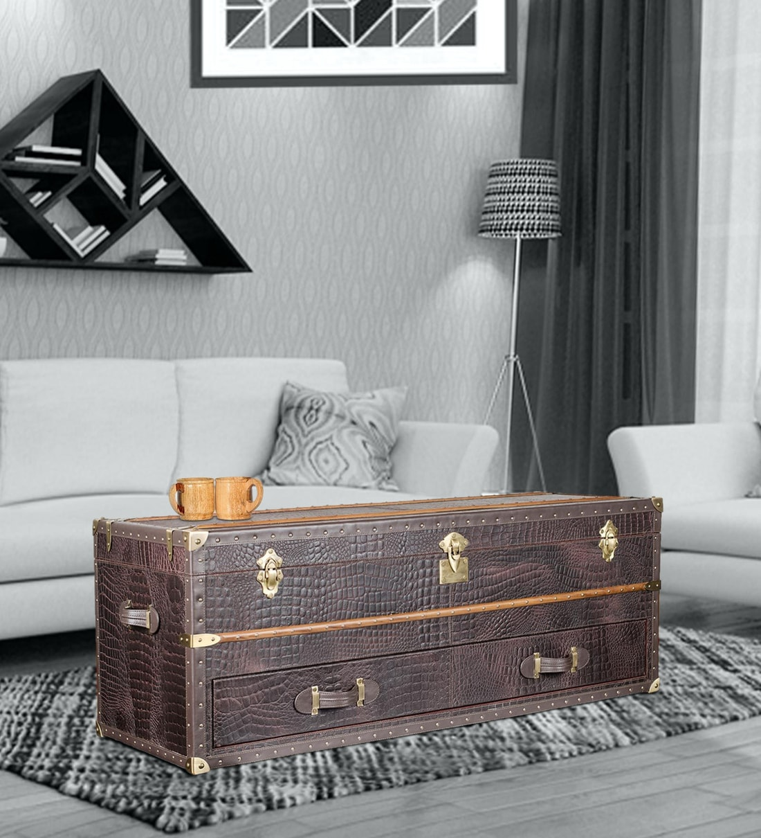 - Buy Leather Vintage Streamer Storage Trunk Coffee Table In Brown