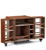 Heritage Mini Trunk Bar Cabinet in Tan Brown Leather