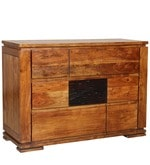 Leopold Chest of Drawers in Walnut & Black Colour
