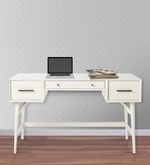 Lewis Mid Century Study Table in White Colour