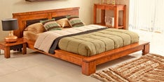 Leopold Solidwood Queen Size Bed in Brown Finish