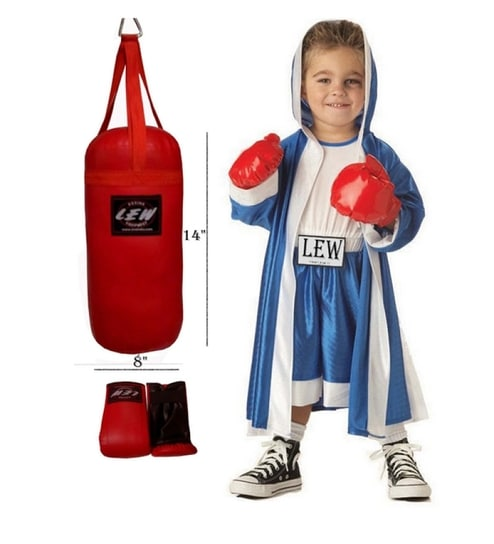 Lew Punching Bag Set For Kids And A Pair Of Gloves