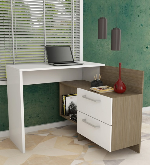 Leiko Study Desk With Book Shelf In White Oak Finish By Mintwud