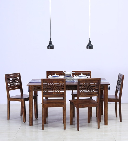 Lerro Solid Wood Six Seater Dining Set In Provincial Teak Finish By  Woodsworth