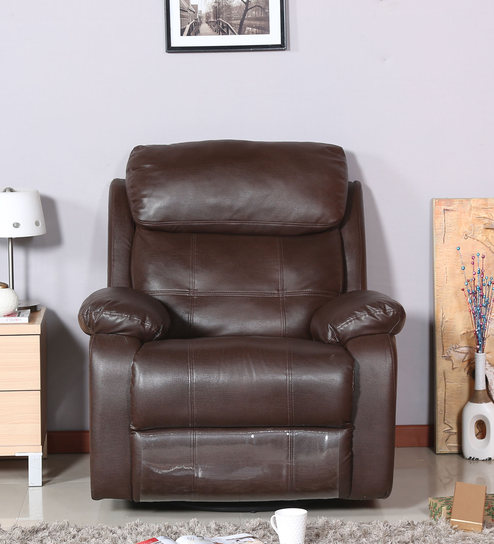 Incroyable Lexus Revolving/ Rocking One Seater Recliner Sofa In Brown Color By Parin