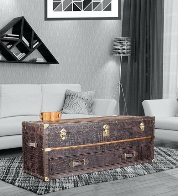 Leather Vintage Streamer Storage, White Trunk Furniture