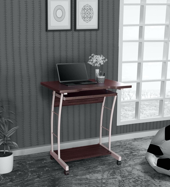 Leo Computer Table In Walnut Colour, Walnut Computer Desk