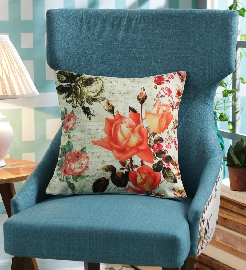 Multicolour Poly Duck Cafe Floral Vintage Cushion Cover by Leaf Designs