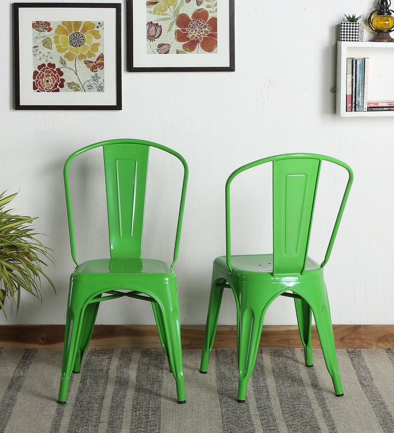 Ledo Metal Chair (Set Of 2) In Green Colour By Bohemiana