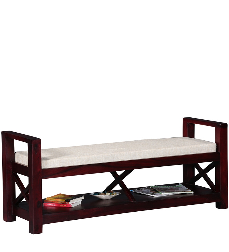 Buy Fife Upholstered Bench In Passion Mahogany Finish By