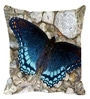 Leaf Designs Blue Microfibre 12 x 12 Inch Magnificent Butterfly Cushion Cover