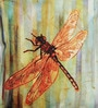 Brown Poly Duck Stripes Dragonfly Cushion Cover by Leaf Designs