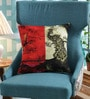 Red Poly Duck Peacock Cushion Cover by Leaf Designs
