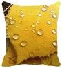 Leaf Designs Yellow Microfibre 16 x 16 Inch Cushion Cover