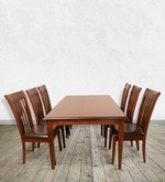 Linda Six Seater Dining Set in Walnut Finish