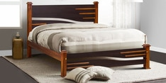 Line King Size Bed in Dark Walnut Finish