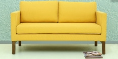 Litchi Three Seater Sofa in Yellow Colour