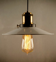 LightenUp Grey Metal & Brass Pendant at pepperfry