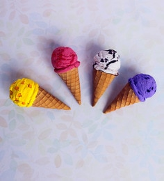 Little Things Multicolour Clay Ice-Cream Magnet - Set Of 4