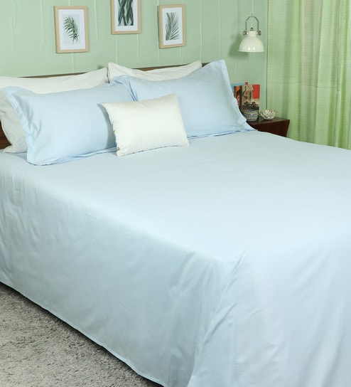 Buy Light Blue 100 Cotton Premium Solid Fitted Bedsheet Queen Size