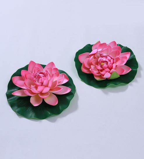 Buy Light Pink Foam Artificial Lotus Flower By Fourwalls Set Of 2