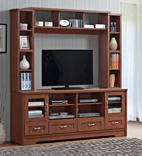 Buy Lisbon Wall TV Unit in Dark Brown Finish by Evok Online - Modern ...
