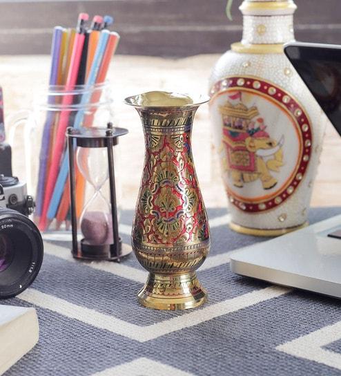 Buy Brass Meenakari Work Flower Vase By Little India Online Vases