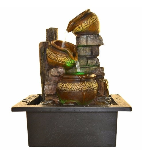 Brown Polystone Ethnic Vessel Theme Electric Motor LED Glowed Indoor Water  Fountain By Little India