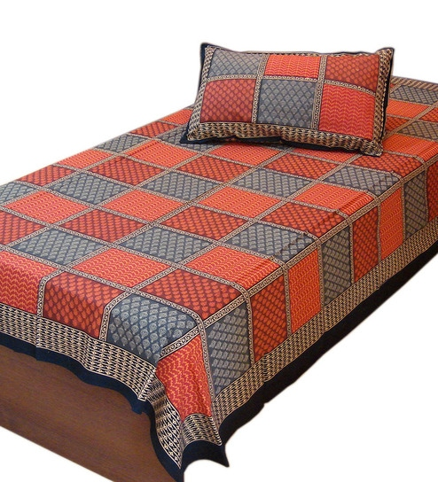 Little India Jaipur Orange Cotton Single Bed Sheet