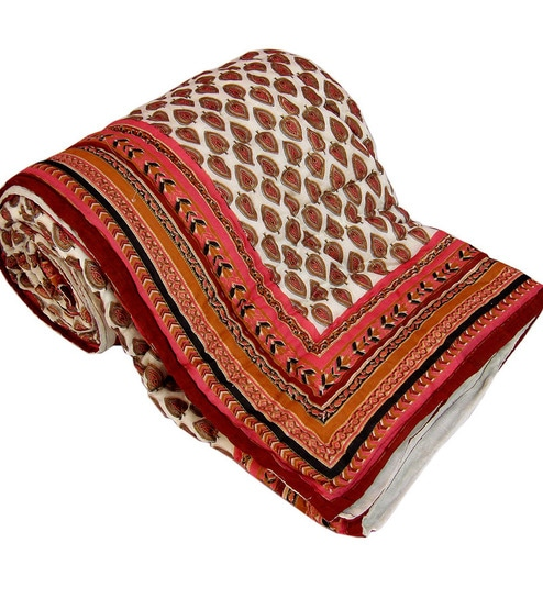 Buy Reds Indian Ethnic Cotton Queen Size Quilt 1 Pc by Little ... : ethnic quilt - Adamdwight.com