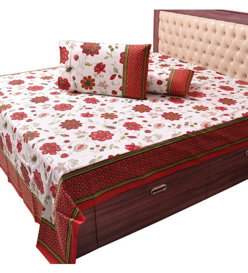 Little India Pure Cotton Floral Print Double Bed Sheet Set