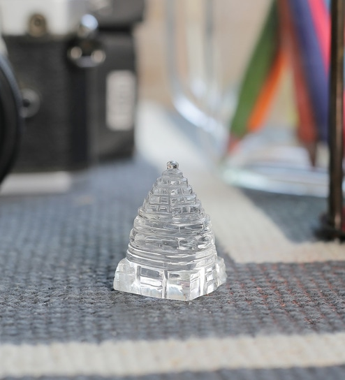 Transparent Shree Yantra Crystal Curio by Little India