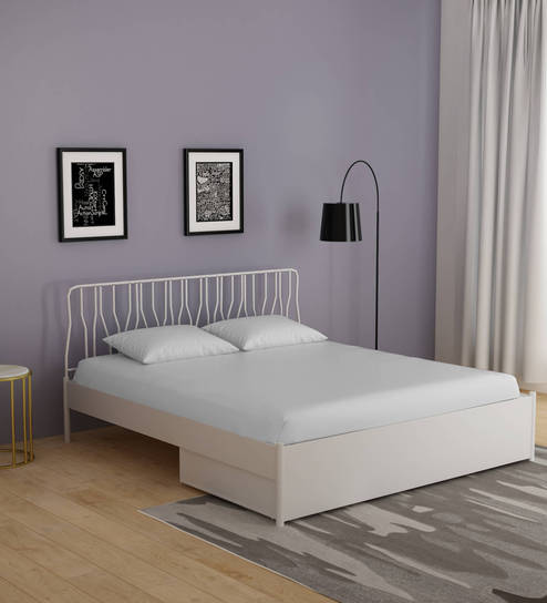 Buy Liva King Size Bed With Storage In White Finish By Godrej