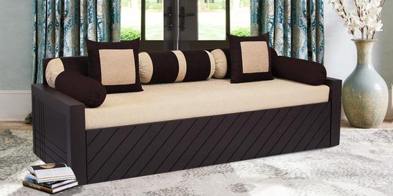 Libford Sofa Cum Bed With 2 Cushions 5 Bolsters In Cream Colour By Auspicious Home