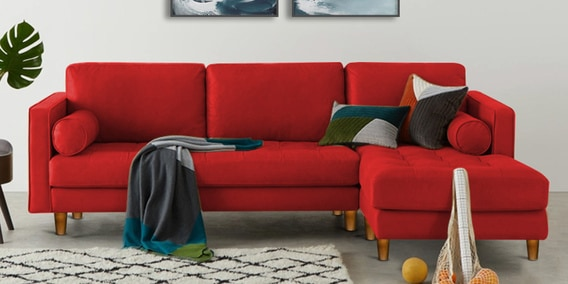Lisbon Lhs Sectional Sofa In Red Colour