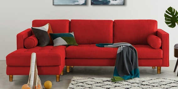 Lisbon RHS Sectional Sofa in Red Colour by Adorn Homez