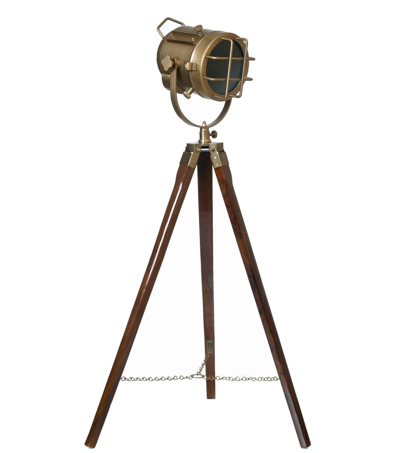 LightenUp Brass Aluminium & Glass Floor Tripod